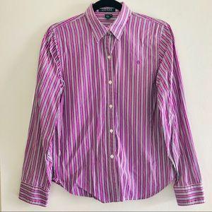 Ralph Lauren collared striped button purple white